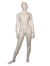 Disfraz Carnaval Blanco Metálico Brillante Zentai Entero Bodysuit Halloween