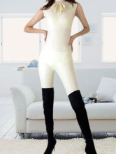 Cream Color Pole Dancing Catwoman Latex Catsuit with Bow Tie