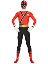 Faschingskostüm Ganzkörper Elastan Power Rangers Zentai in Rot
