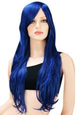 Halloween Hair Wigs Black Blue Women 80cm Long And Wavy Fashion Carnival wig