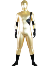 Morph Suit Golden And Black Two-Tone Shiny Metallic fabric Zentai Suit Unisex Full Body Suit