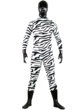 Anime Costumes AF-S2-25750 Halloween Black And White Zebra Patern Shiny Metallic Lycra Spandex Zentai Suit