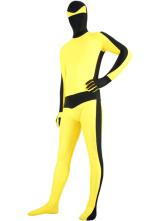 Preto e Amarelo Bruce Lee Spandex Lycra Zentai Suit Halloween