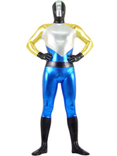 Zentai Super Suit Silver Gold Black And Blue Hero metálica brilhante Halloween