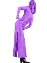 Carnevale Zentai collant per adulti completo lycra spandex violo tinta unito per donne Halloween