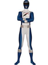 Carnevale Vestito multicolore completo bianco e blu per adulti tuta lycra spandex unisex Halloween