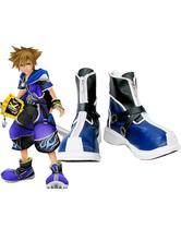 Sapatas Azul e Kingdom Hearts II Black Sora imitado Couro  Cosplay Espuma Halloween