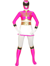 AF-S2-30201 White And Rose Power Ranger Zentai Suit Halloween Lycra Spandex Super Hero Costume