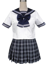 Anime Costumes AF-S2-34171 Royal Blue Grille Short Sleeves Sailor School Uniform Cosplay Costume
