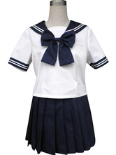 Anime Costumes AF-S2-34174 Royal Blue Solide Short Sleeves Sailor School Uniform Cosplay Costume