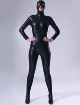 Preto brilhante metálico unissex Zentai terno clássico Halloween