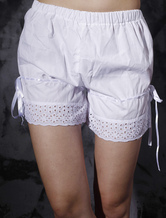 Lolitashow White Cotton Lolita Bloomers Hollow Trim Ribbons