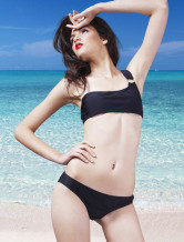 Unique Black Chinlon One Shoulder Tanga Womens Two-piece Swimsuit