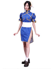 Cosplay Costume blu di Street Fighter Chunli Carnevale