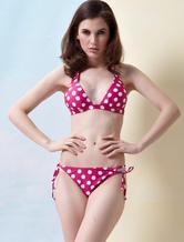 Bikini de nilón rosado con escote Halter de estilo moderno