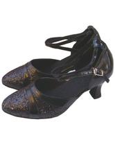 Элегантный черный PU кожа 2 3/5'' Высокий Пяточные обувь женская Латинской