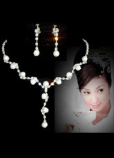 Silver Pearls Jewelry Set For Bridal