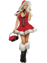 Anime Costumes AF-S2-129842 Sexy Christmas Santa Costume Women'S Red Lace Up Skater Dress