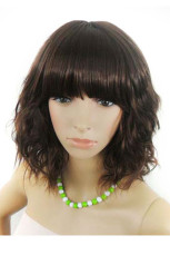 Anime Costumes AF-S2-44213 Popular 50cm Brownish Black Inclined Bang Curly Nylon Womens Fashion Wig