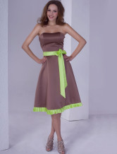 Cute Strapless Sash Satin Bridesmaid Dress
