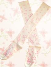 Lolitashow Sweet White Lolita Knee Socks Pink Music Note Print