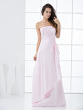Etui-Brautjungfernkleid aus Satin in Rosa