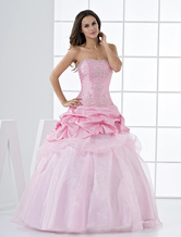 Pink Princess Strapless Beaded Ruffles Floor Length Taffeta Ball Gown
