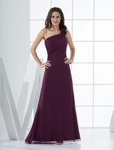 Sexy Grape Chiffon One Shoulder Floor Length Bridesmaid Dress