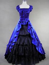 Carnevale Costume d'epoca vittoriana blu satinato donne volant abito Maxi retrò Halloween