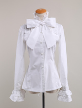 Sweet Lolita Blouse Long Sleeves White Cotton Stand Collar Bow Ruffles