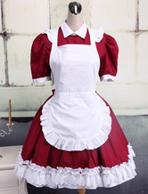 Lolitashow Cotton Dark Red And White Cosplay Lolita Dress With Apron