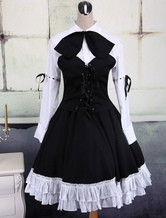 Lolitashow Cotton White And Black Long Sleeves Punk Lolita Blouse And Skirt