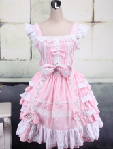 Lolitashow Pink And White Sleeveless Bow Bandage Sweet Lolita Dress