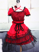 Classic Lolita Dress Red Short Sleeve Lace Layered Ruffles Lolita OP Dress