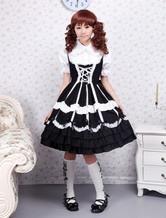 Lolitashow Cotton Black Lace Ties Gothic Lolita Dress