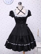 Cotone nero Lolita OP Abito manica corta con pizzo up e White Lace Trim