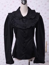 Black Cotton Lolita Blouse Long Sleeves Ruffles Turn-down Collar