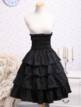 Lolitashow Classic Cotton Black Ruffle Lolita Skirt