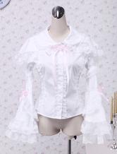 Weiße Baumwolle Lolita Bluse lange Hime Ärmel Lace Trim Bogen