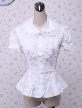Lolitashow Sweet White Cotton Lolita Blouse Short Sleeves Layered Lace Trim Turn-down Collar