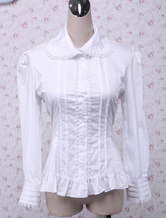 Lolitashow Cotton White Ruffles Long Sleeves Lolita Blouse