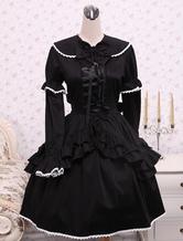 Baumwolle schwarz Loltia OP Kleid Langarm Lace Up geschichteten Rüschen Bow