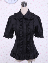 Lolita Blouse Pure Cotton Black Short Sleeves Ruffles Turndown Collar