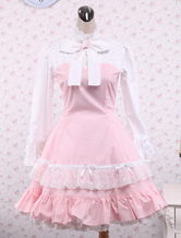 Lolitashow Cotton Pink And White Lace Classic Lolita Dress