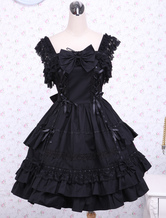 Gothic Lolita Dress JSK Black Ruffles Bow Lace Trim Lolita Jumper Skirt
