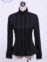 Lolitashow Black Cotton Lolita Blouse Stand Collar Layered Lace Trim Ruffles