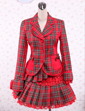 Lolitashow Cotton Red Gingham School Lolita Top And Skirt