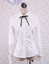 Lolitashow White Cotton Lolita Blouse Long Sleeves Lace Trim Turn-down Collar Black Bow