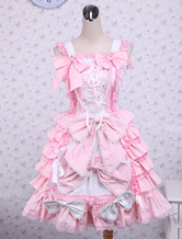 Lolitashow Sweet Pink Cotton Loltia Jumper Dress Bows Layers Ruffles