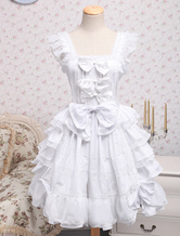Rococo Lolita JSK Dress Lace Bow Ruffle White Cotton Lolita Jumper Skirt
